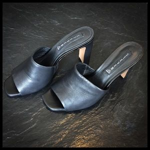Black Leather High Heel Mules from Steve Madden